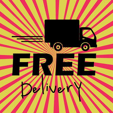 free delivery label over grunge background vector illustration  Vector