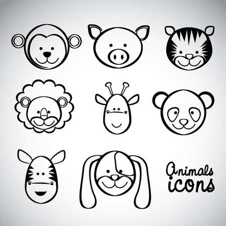 Illustration of a cute pig, monkey, tiger, lion, giraffe, panda, zebra and dog, vector illustration Illustration