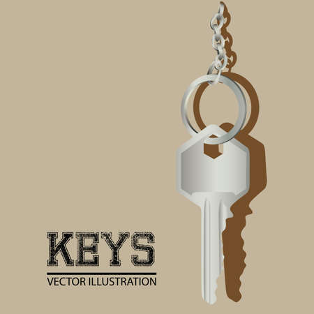 key design over beige background vector illustration Vector