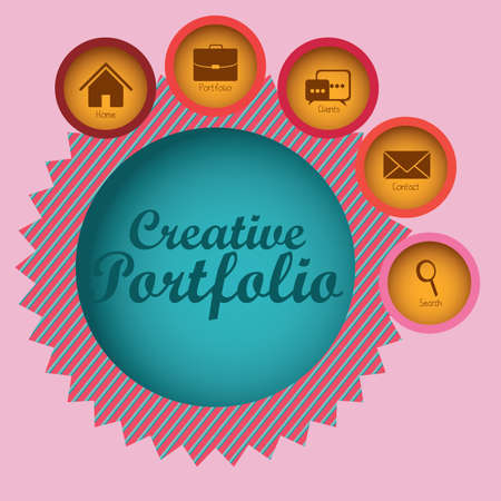 creative portfolio over pink background  Vector illustration Vector