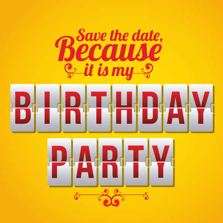 over the counter: Birthday Counter card over yellow background Illustration