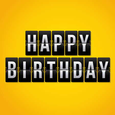 over the counter: Happy Birthday Counter card over yellow background