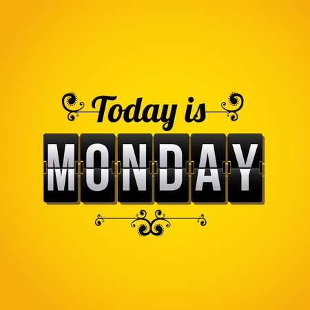 monday: days counter indicating that today is Monday over yellow background