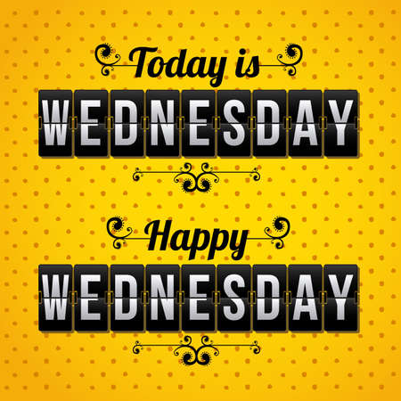 over the counter: days counter indicating wednesday over dotted background vector illustration