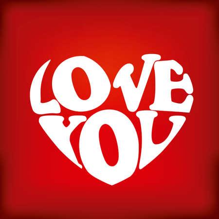 liefde: Liefde kaart met een groot hart op rode achtergrond vector illustratie