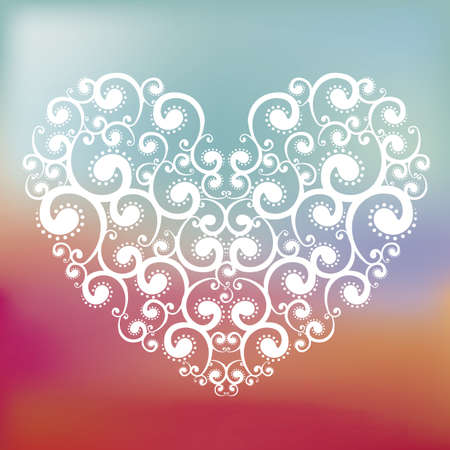 Love card with a big heart over colors background vector illustration Illustration