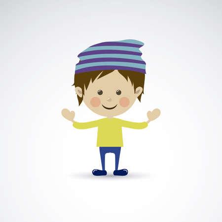 flushed: happy boy over gray background vector illustration