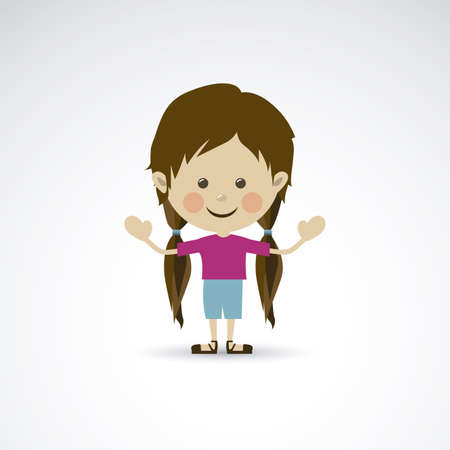 children only: happy woman over gray background vector illustration