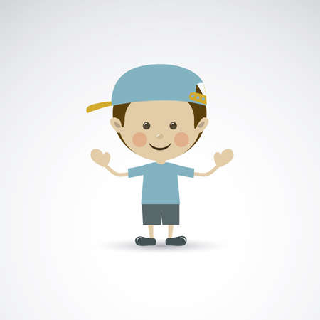 flushed: happy child over gray background vector illustration Illustration