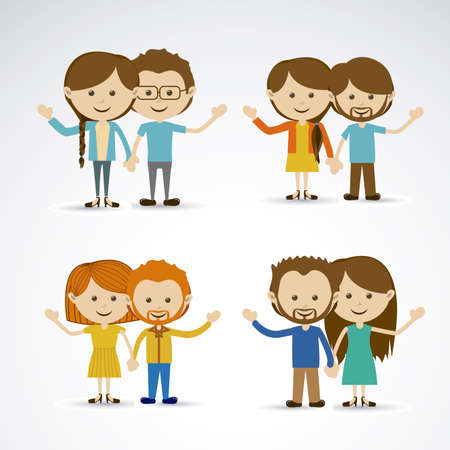 flushed: happy couples over gray background vector illustration