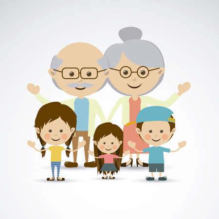 abuelos: abuelos y nietos sobre fondo gris ilustraci�n vectorial