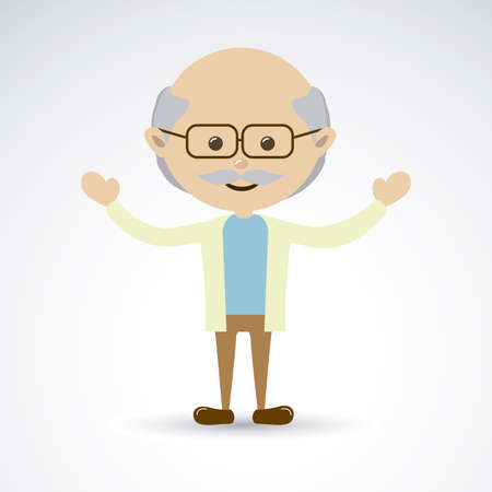 felicity: grandfather over gray background vector illustration