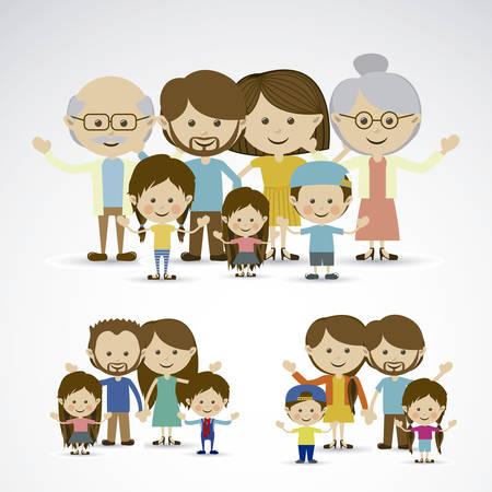 abuelo: diferentes familias sobre fondo gris ilustración vectorial