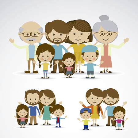 grandparents: different families over gray background vector illustration