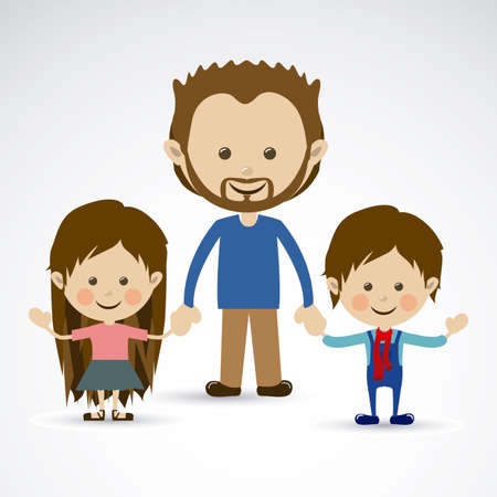 flushed: Happy father over gray background vector illustration