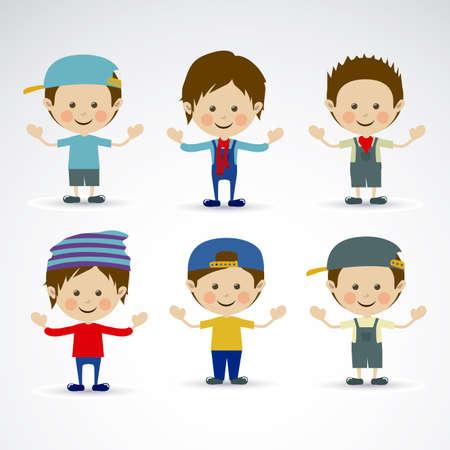 flushed: happy children over gray background vector illustration