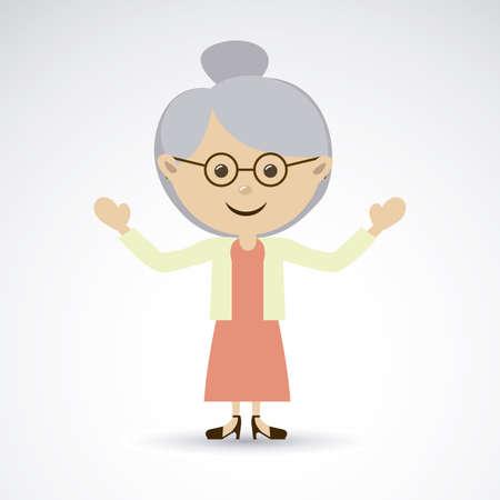 flushed: grandmother over gray background vector illustration Illustration