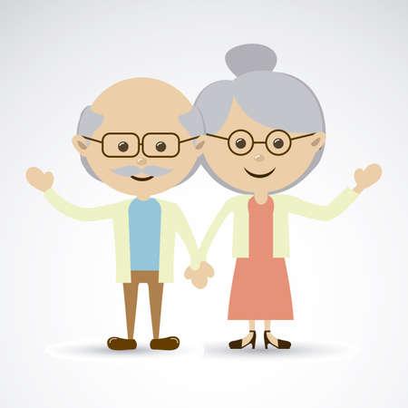 灰色の背景ベクトル イラスト祖父母  イラスト・ベクター素材