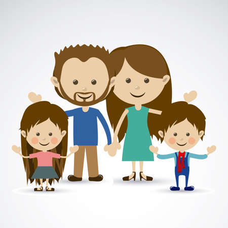family together over gray background vector illustration Stock Vector - 22453346