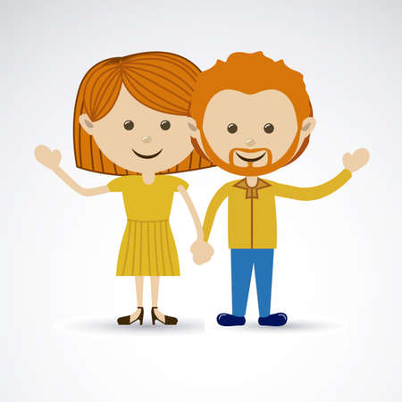 felicity: happy couple over gray background vector illustration Illustration