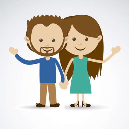 blissful: happy couple over gray background vector illustration Illustration