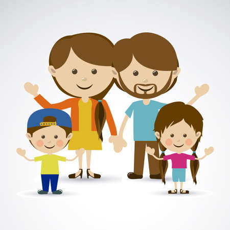 happy family over gray background vector illustration Vector