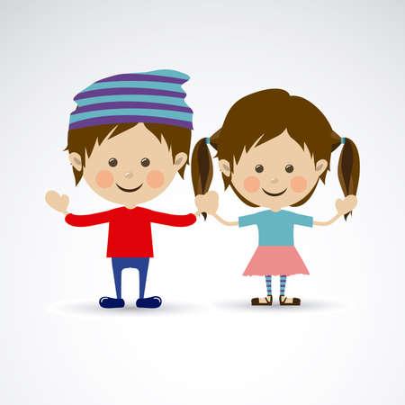 boy friend: couple design over gray background vector illustration