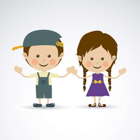 pretty teen girl: couple design over gray background vector illustration