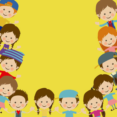 children design over yellow background vector illustration Vector