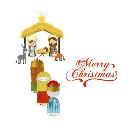 birth of jesus: christmas design over white background vector illustration