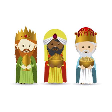 rois mages: conception mages sur fond blanc illustration vectorielle