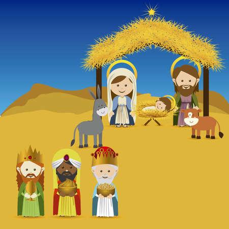 magi: christmas design over sky background vector illustration