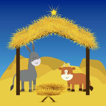 estrella de belen: dise�o de la Navidad sobre el cielo de fondo ilustraci�n vectorial
