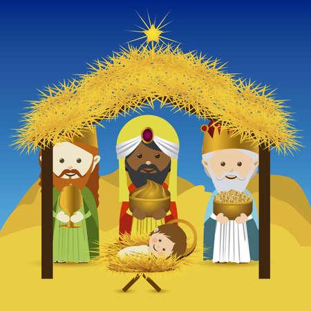 portal de belen: dise�o de la Navidad sobre el cielo de fondo ilustraci�n vectorial