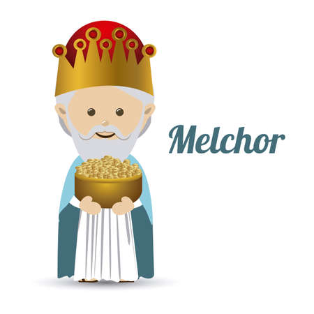 melchior: melchior design over white background vector illustration