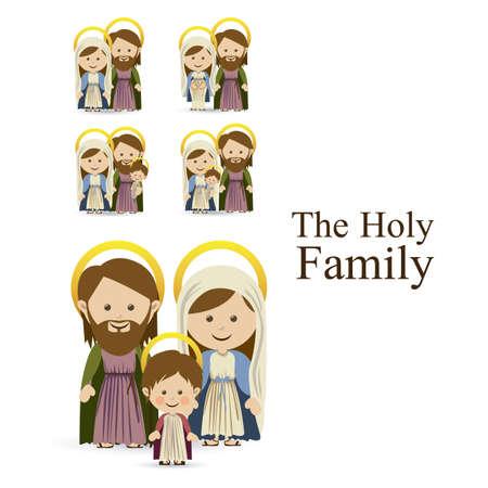 sacra famiglia: disegno sacra famiglia su sfondo bianco, illustrazione vettoriale