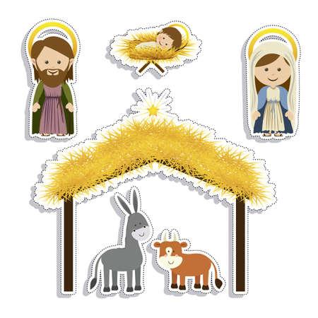 portal de belen: dise�o de la Navidad sobre el fondo blanco ilustraci�n vectorial