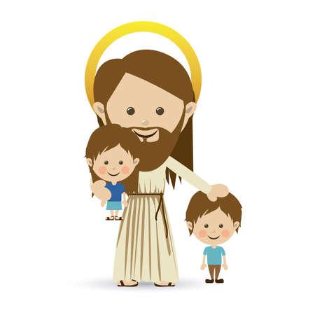 白い背景ベクトル イラスト イエスス ・ キリスト デザイン