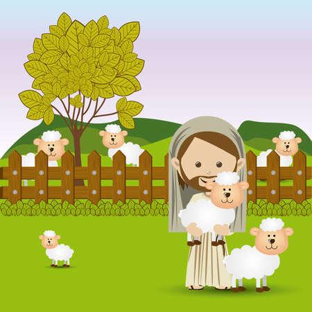 progettazione Jesuschrist sul paesaggio sfondo illustrazione vettoriale Vettoriali