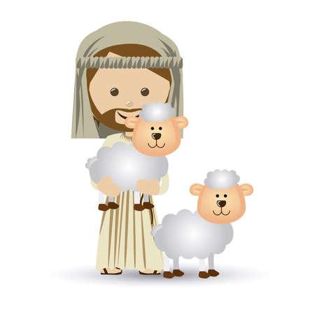 historias biblicas: jesuschrist dise�o sobre fondo blanco ilustraci�n vectorial