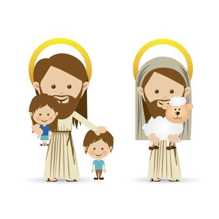 pastor de ovejas: jesuschrist dise�o sobre fondo blanco ilustraci�n vectorial