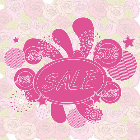 big sale tags over roses background. vector illustration Stock Vector - 22453476