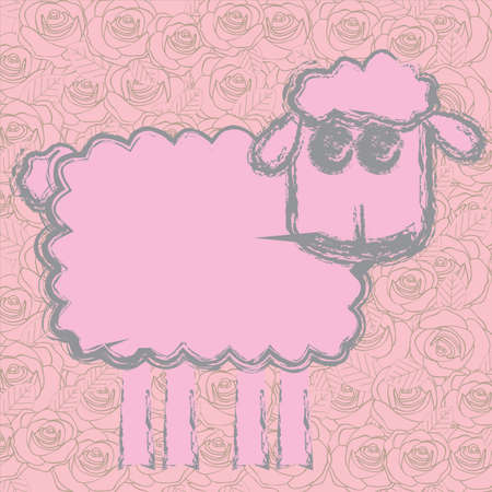 sheep design over pink background. vector illustration   Vector