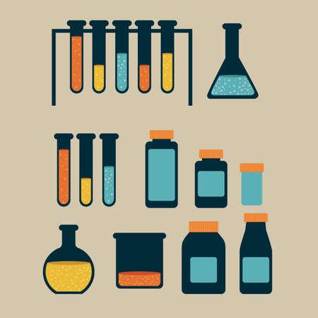 test tubes over beige background vector illustration Stock Vector - 22592818