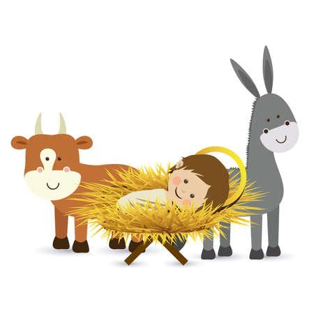 pesebre: dise�o de la Navidad sobre el fondo blanco ilustraci�n vectorial