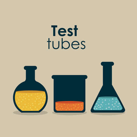 test tubes over beige background vector illustration  Stock Vector - 22592829