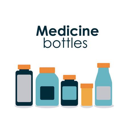 pastillas: botellas de la medicina sobre fondo hite ilustraci�n vectorial