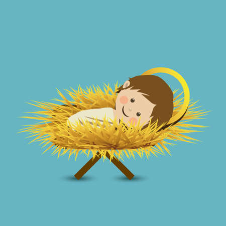 baby jesus: jesuschrist design over blue background vector illustration Illustration