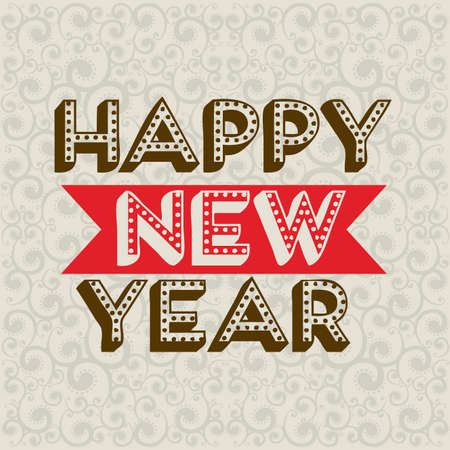 happy new year 2014 over pattern background  vector illustration  Çizim