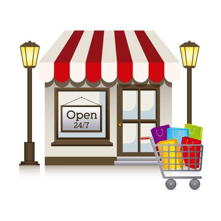 frontdoor: store design over white background vector illustration